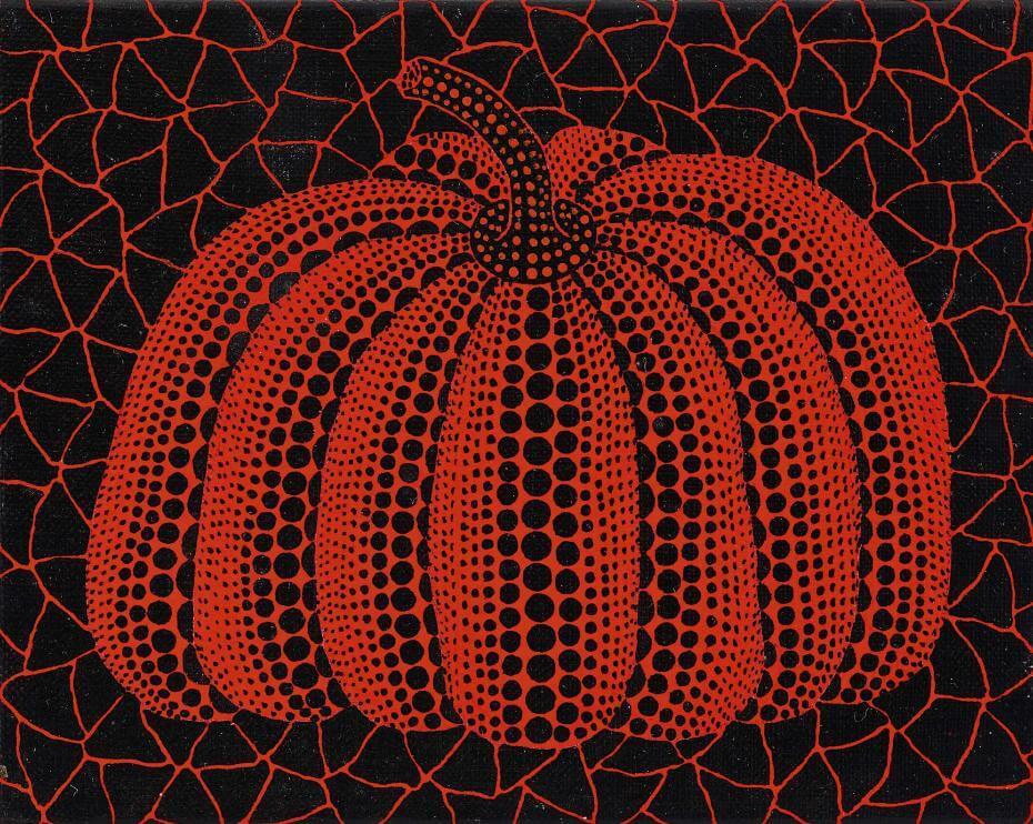 草間彌生,《南瓜》,壓克力畫布,1996。圖/蘇富比提供。
