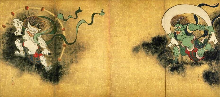 尾形光琳,《風神雷神図》。圖/取自wikimedia。