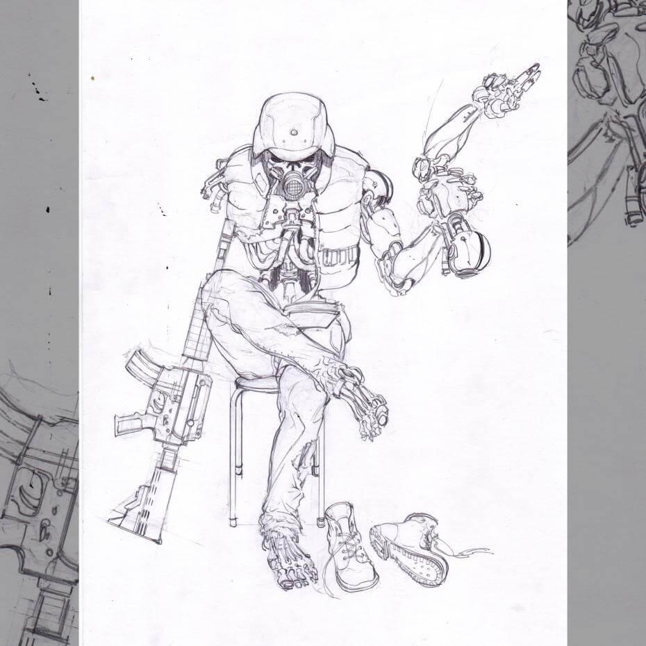 十二銃人局部-越戰精靈-草圖。許凱翔