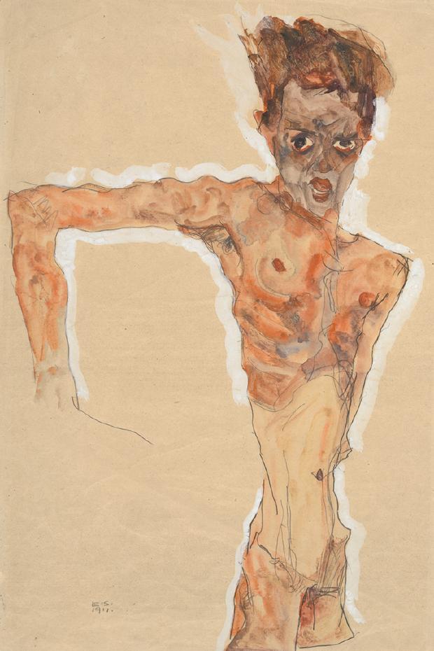 Egon Schiele,《Self-Portrait》,1911。圖取自大都會博物館。