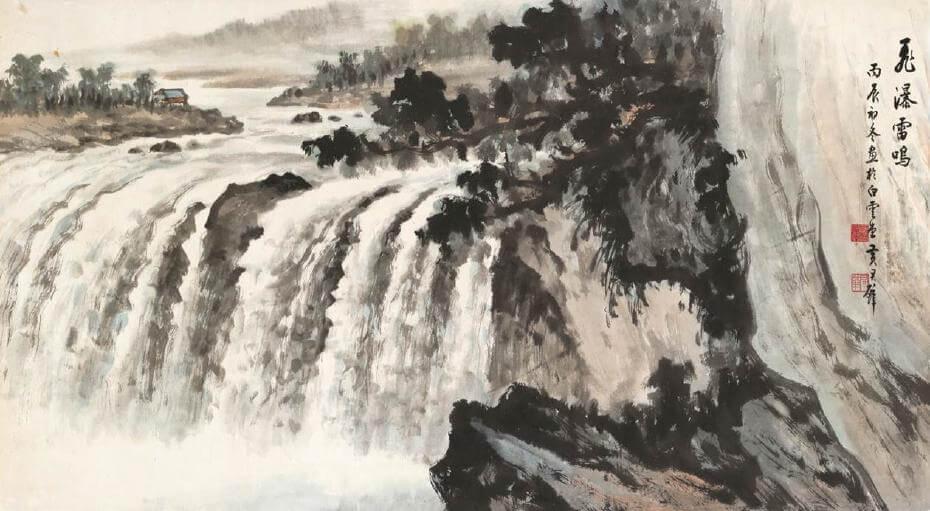 黃君璧|飛瀑雷鳴 77x140cm