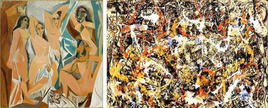 立體派 畢卡索|亞維農姑娘;抽象表現主義 帕洛克|無題
