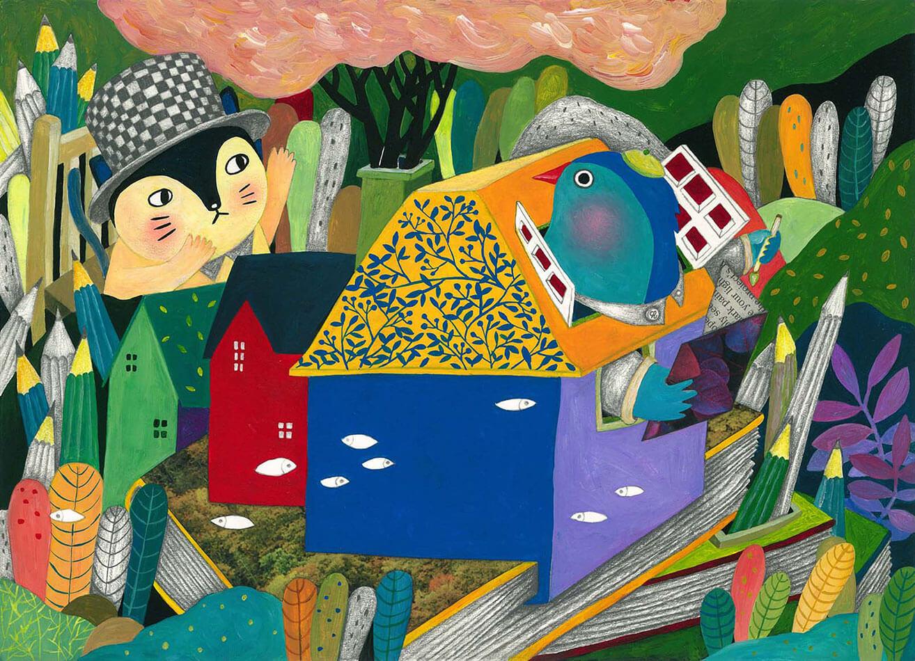 《Fantasy Storybook》,壓克力顏料及鉛筆等複合媒材,2016。科技業巨擘微軟公司所舉辦的Microsoft Surface創意平面大獎之銅獎作品。圖/陳姵含提供。