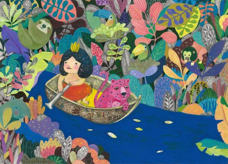 《Amazon Rainforest, My Home》,壓克力顏料及鉛筆等複合媒材,2017。JIA日本插畫協會入選作品(Winning Work Prize, JIA Illustration Award 2017)。圖/陳姵含提供。