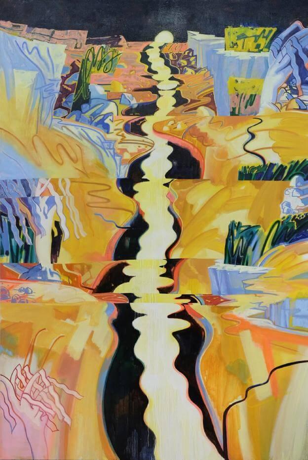 蘇予昕,《河流摺,日落谷》,2018,油彩、壓克力顏料、麻布。圖/藝術家提供。