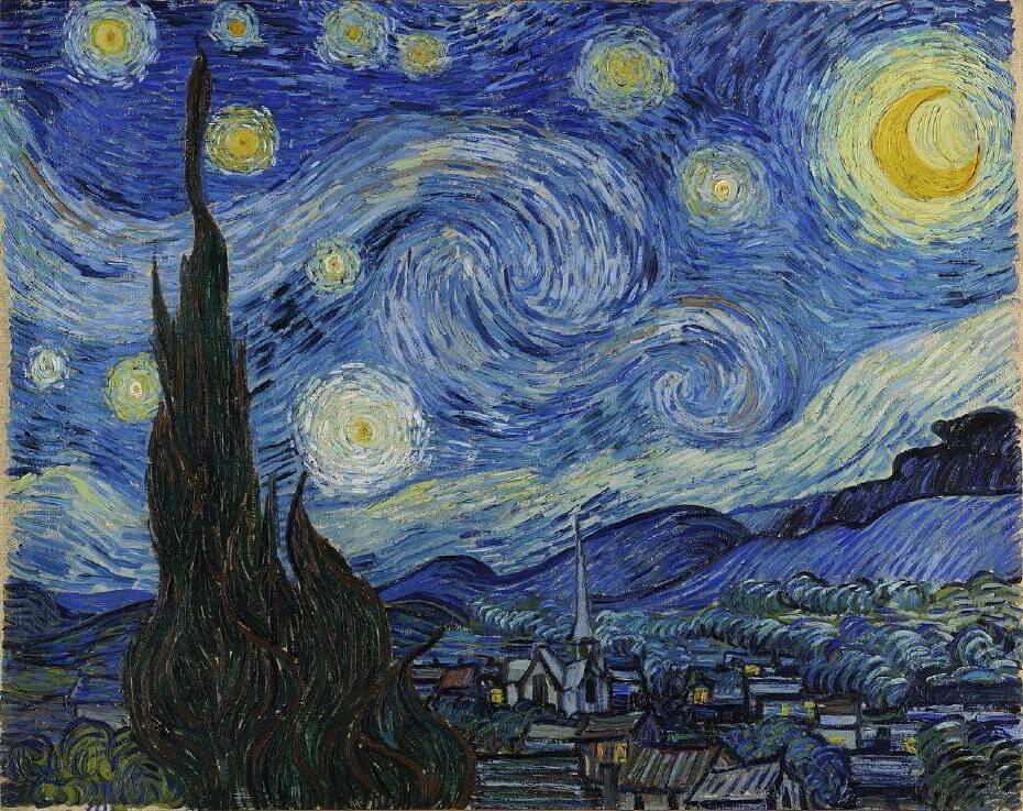 梵谷,《星夜》。圖/取自wikimedia。