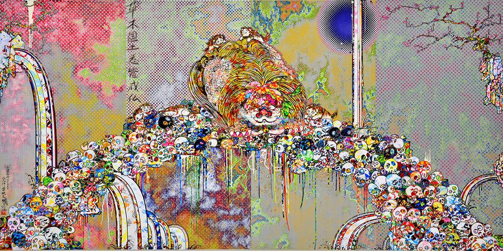 村上隆,《超越死亡的王國獅子》,壓克力、畫布、鋁框,150 x 300公分,2018年。©2018 Takashi Murakami/Kaikai Kiki Co., Ltd. All Rights Reserved. 圖/Courtesy Gagosian.